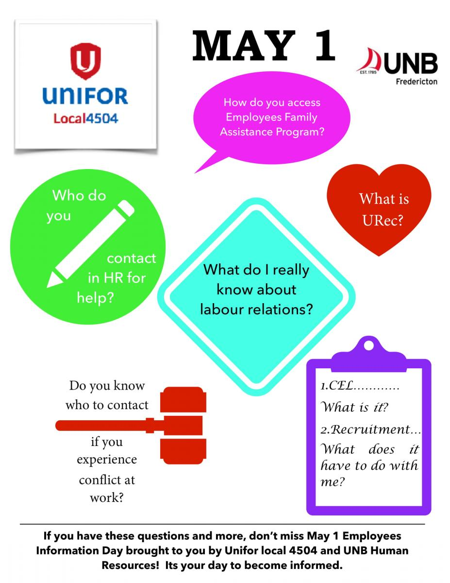 May 1 Unifor Local 4504/UNB HR Information Event | Unifor